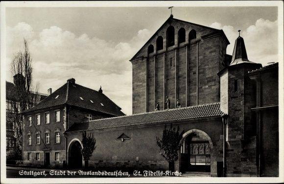 Stuttgart in Baden Württemberg, Stadt der Auslandsdeutschen, Blick auf die St. Fidelis Kirche