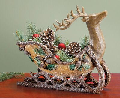 Reindeer Sleigh Rustic Christmas Decoration | интерьер | Pinterest | Christmas centrepieces ...