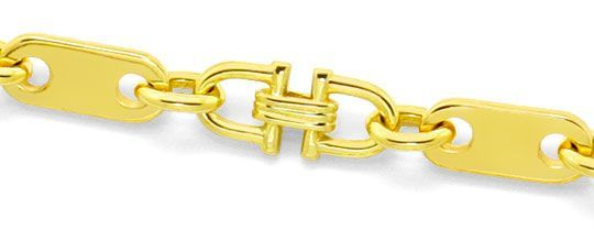 Foto 2, Massive Steigbügel Plättchen Goldkette Gelbgold 14K/585, K2506