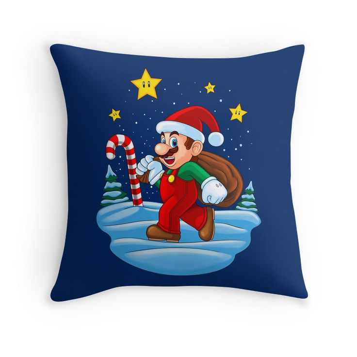 """Mario Xmas"" Throw Pillows by Remus Brailoiu 