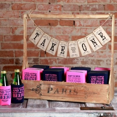 Lowest Priced One Color Wedding Koozies Personalized For Your