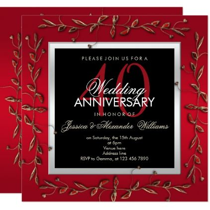 Elegant Ruby Gemstones 40th Wedding Anniversary Card Gifts Gift Ideas Custom Presents