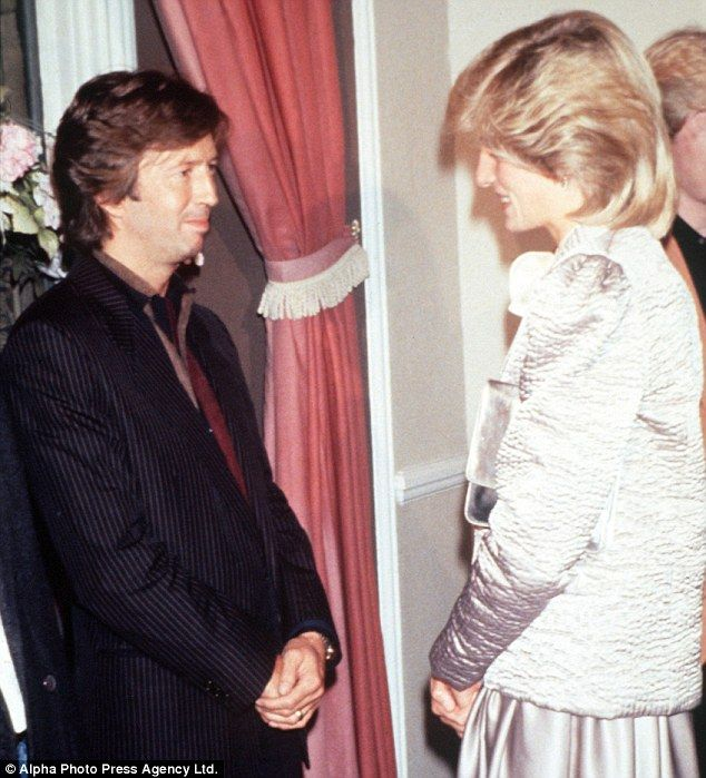 Royal fan: Princess Diana was still married to Charles when she first met Eric Clapton. She was clearly a Clapton fan.