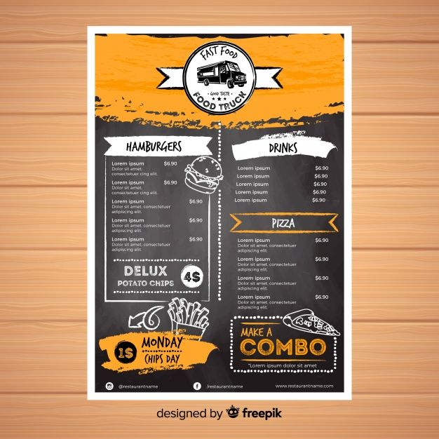 Restaurant Menu Template With Chalkboard Style Vector Free Download Menu Design Template Menu Template Restaurant Menu Template