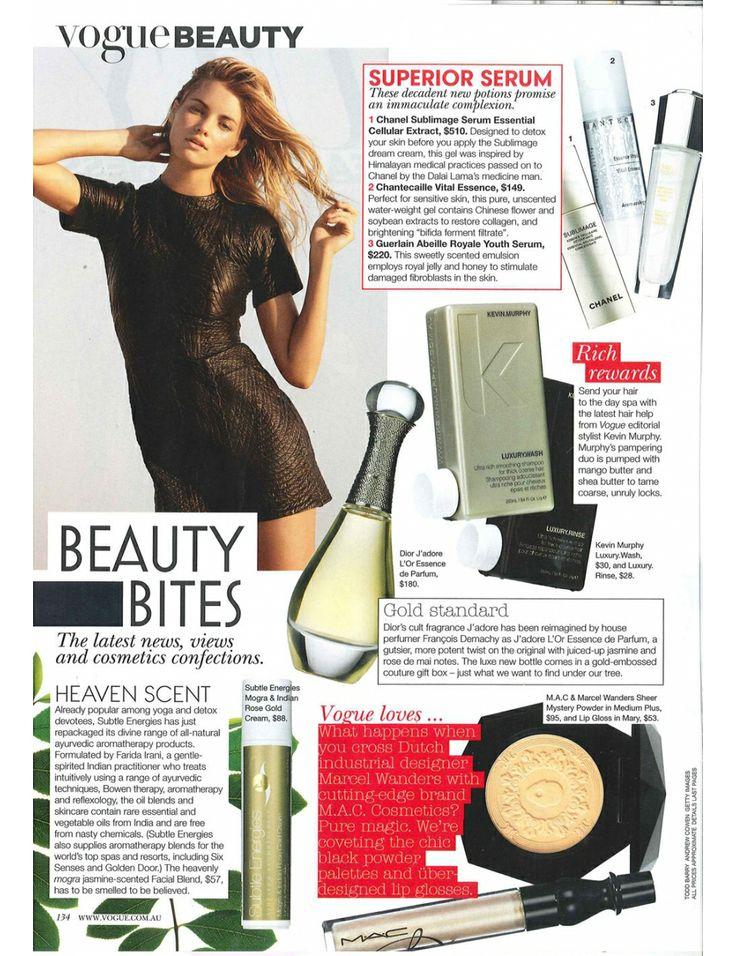 Vogue magazine - feature on Subtle Energies Mogra & Indian Rose Gold Cream http://www.subtleenergies.com.au/index.php/shop/for-the-face/moisturisers/mogra-indian-rose-gold-cream.html