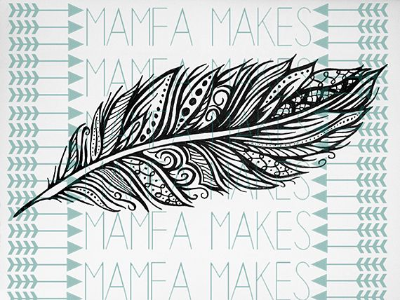 zentangle feather | Zentangle Feather stamp