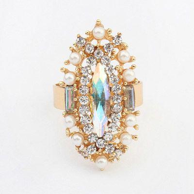Handmade White Diamond Decorated Oval Shape Design Alloy Korean Rings www.asujewelry.com