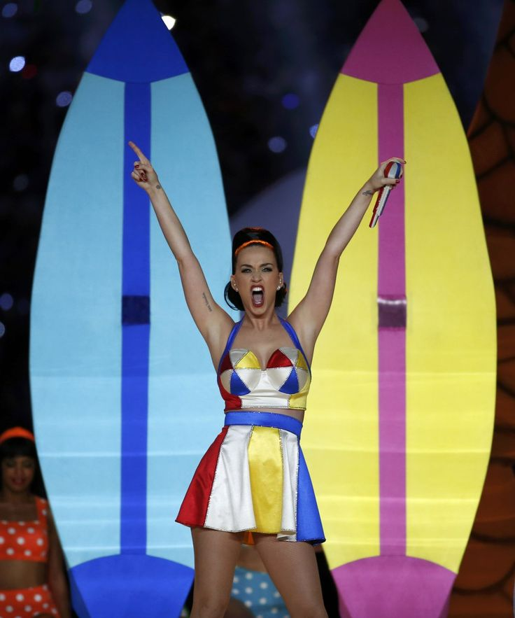 """Katy Perry at the Super Bowl half time on Sunday 2/1/15, performing for half-time singing her biggest hit melodies. Entertainers that also appeared were Missy Elliott, Doug Flute, and Lenny Kravitz. Taylor Swift was not present since Perry and her are """"allegedly feuding,"""" her presence would have been great to mend fences. (Reuters)"""