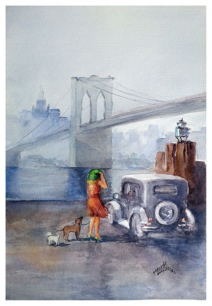 Under the Brooklyn Bridge  Original Watercolor by FarukKoksalArt