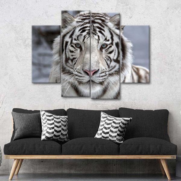 Endangered White Tiger Multi Panel Canvas Wall Art Wall Canvas Unique Canvas Multi Panel Canvas White tiger living room decor