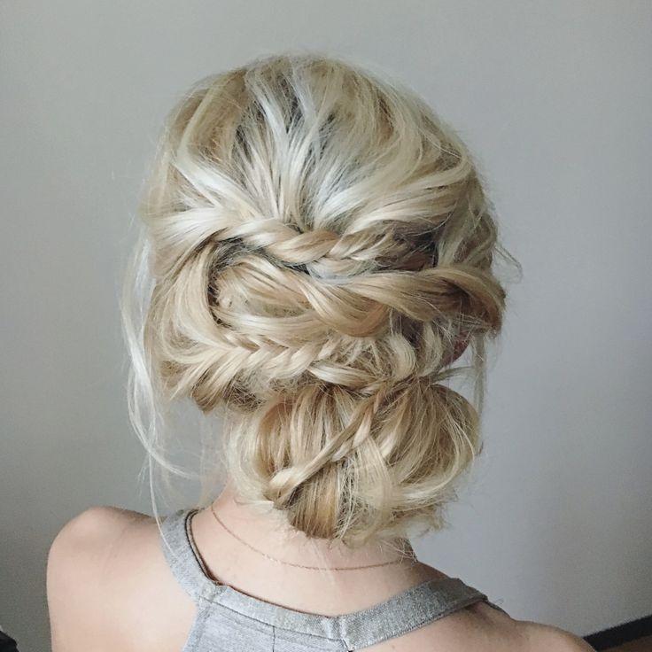 Messy boho bridal bun. Небрежный свадебный низкий пучок с плетением из жгутов