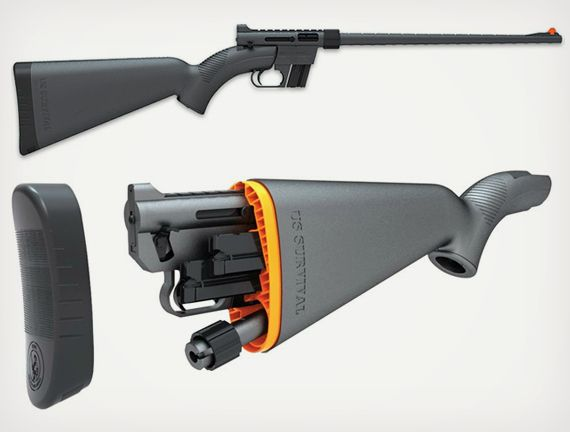 Henry U.S. Survival AR-7 Rifle stows in the stock. Smaller gun means more room to carry candybars.