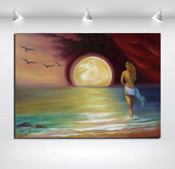 Full moon original oil painting on stretched by artstudioAreti, €198.62