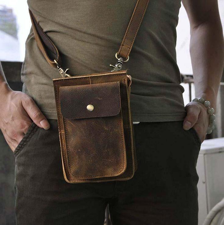 Photo of Leather Belt Pouch Mens Small Cases Waist Bag Hip Pack Belt Bag Fanny Pack Bumbag for Men