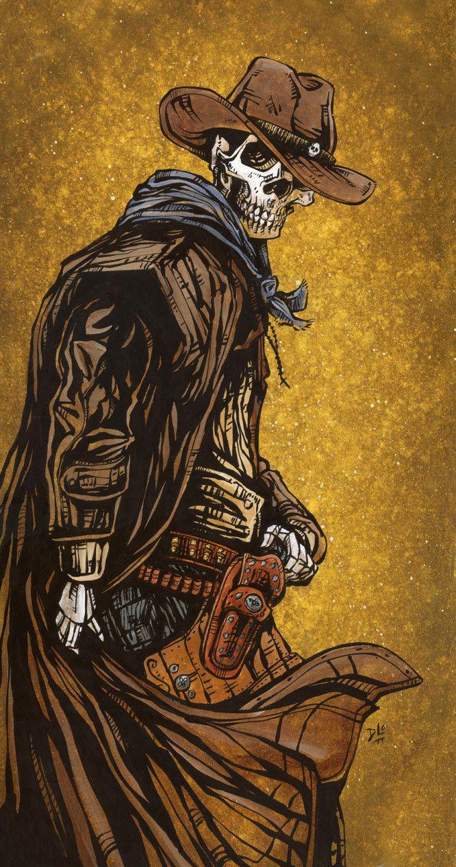 Day of the Dead Artist David Lozeau, Cross Draw, Wild West Art, Dia de los Muertos Art, Sugar Skull Art, Candy Skull - 1
