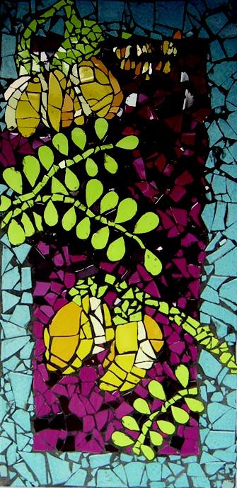 Auckland NZ Pt Chevalier School kids art! : Smash tile mosaic KOWHAI house