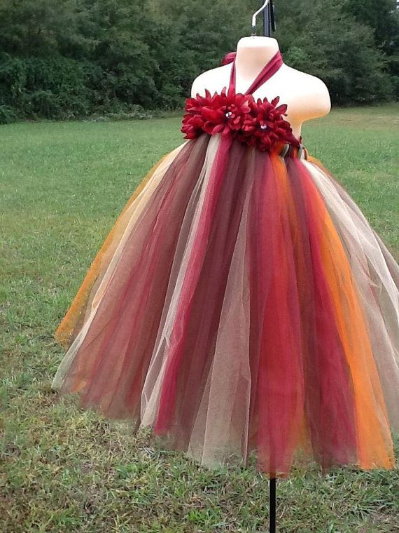 Fall Harvest Flower Girl Tutu Dress Fall by DesignsbyPoshTot,