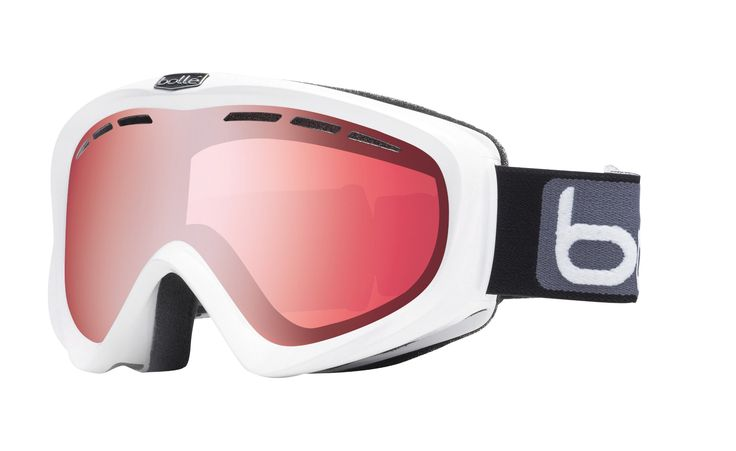 Bolle Y6 OTG Goggles, Shiny White, Vermillion Gun Lens. Flow-Tech Venting frame designed to reduce fogging and optimize the flow of air over the inside of the lens. Double vented PC Lens. Fits Over the Glasses are designed to fit over most prescription glasses. P80 Plus/Carbo Glas.