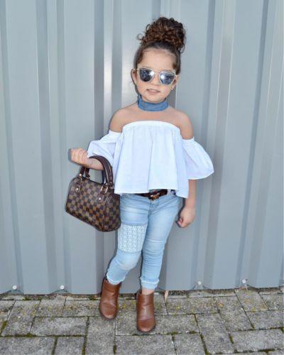 043803475 Toddler Kids Baby Girl Off Shoulder Top Pantalones de mezclilla Jeans  Outfits Set US