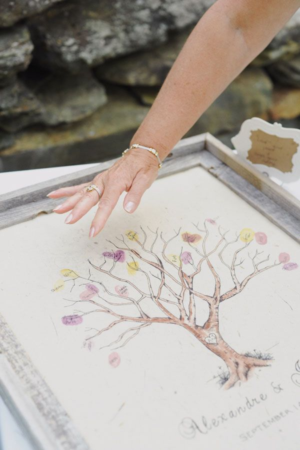 Loving this cute fingerprint tree guestbook idea!