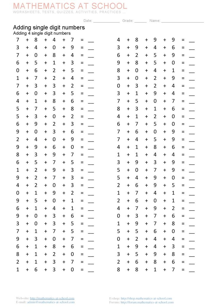 Adding single digit numbers Adding 2, 3, 4 single digit numbers. Adding in columns. Printable pdf worksheets  http://mathematics-at-school.com/1-grade-worksheets/single-digit-numbers-addition