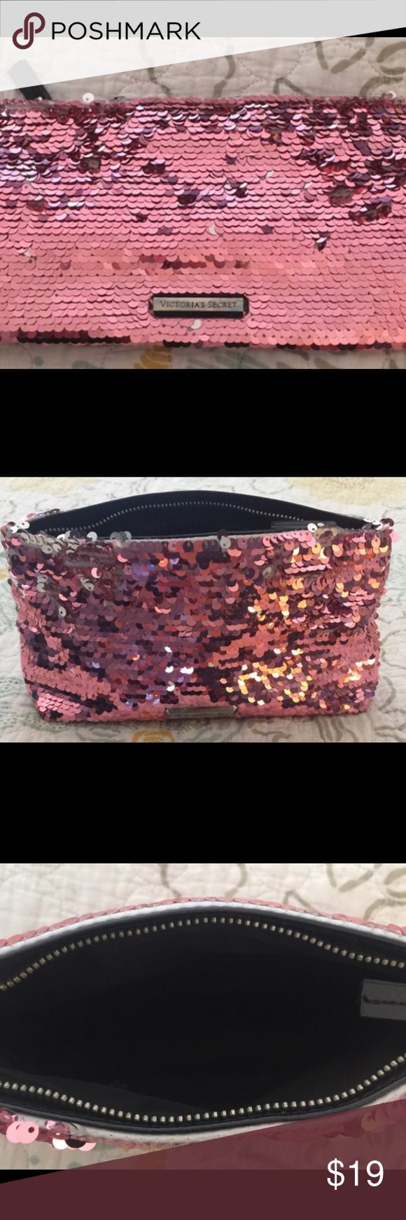 Victoria secret make up bag Pink sequence Victoria secret make up bag in excellent condition! Victoria's Secret Bags