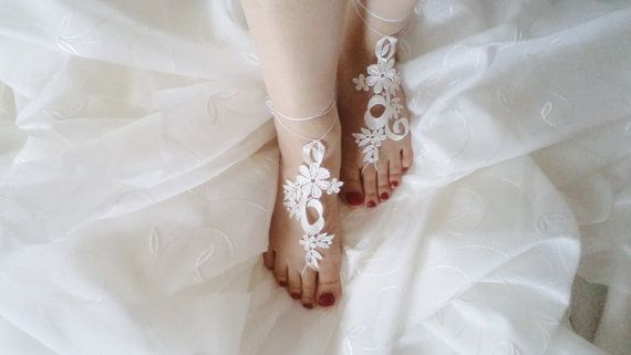 Wedding Sandals Wedding Shoes Beach Shoes Sandals by BloomedFlower