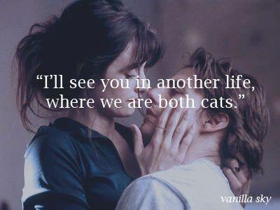 """""""Te veré en otra vida cuando ambos seamos gatos"""" - Vanilla Sky"""
