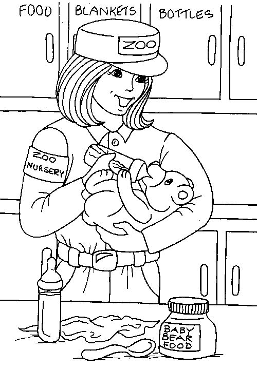 Zoo Keeper Coloring Page At the
