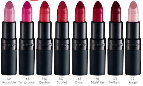 New GOSH Cosmetics Velvet Touch lipsticks. £6.99