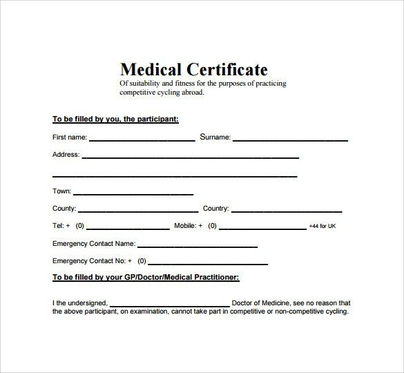 Medical Certificate Samples Medical Doctor Medical Certificate