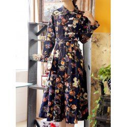 Floral Midi Shirt Dress With Chinese Buttons - Purplish Blue L