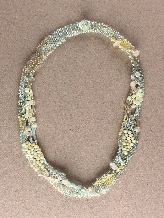 Pale Blue and Cream Freeform Necklace Freeform by CairngormDesigns