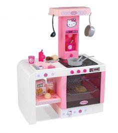Smoby detská kuchynka Hello Kitty Cheftronic je prevedená v krásnej a sviežej kombinácii romantickej ružovej, bielej a šedej farby. Je prevedená v motíve obľúbenej detskej postavičky Hello Kitty, ktorá si hneď získa srdce každej malej princeznej.