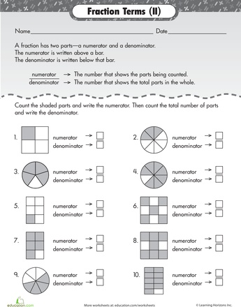 fractions with like denominators worksheets