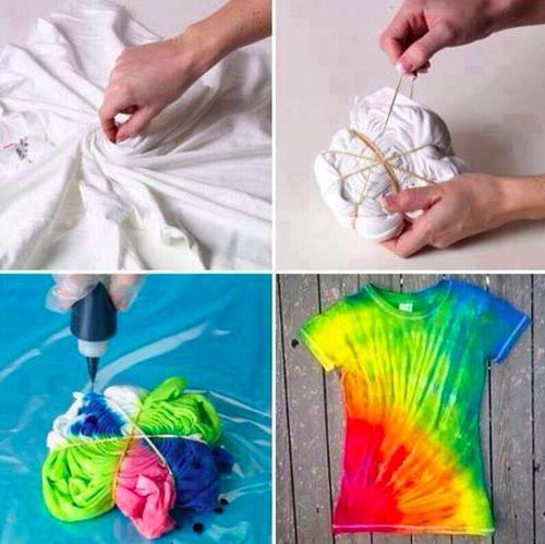 """This looks so fun. Pictorial DIY. Change up the way you """"wad"""" for different looks. Try on anything, not just tees, as long as it is a fabric that can be dyed (like 100% cotton, usually.)"""