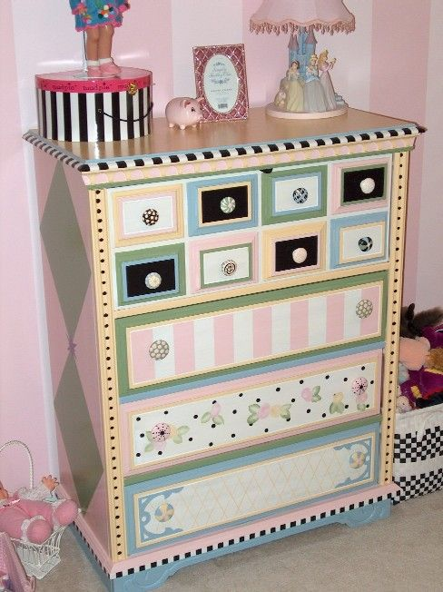 Handpainted furniture. What a cute idea for kids.