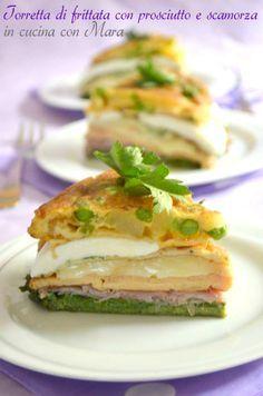 Tower omelet with ham and smoked cheese   Torretta di frittata con prosciutto e scamorza   in cucina con Mara