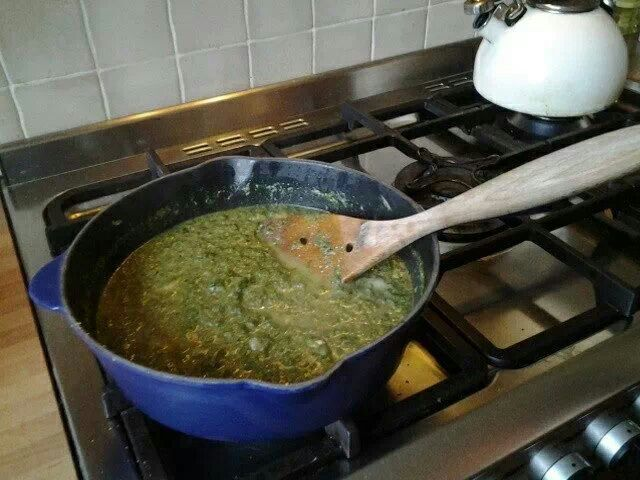 ...fried onion, garlic together. Added chopped potato, frozen spinach ...