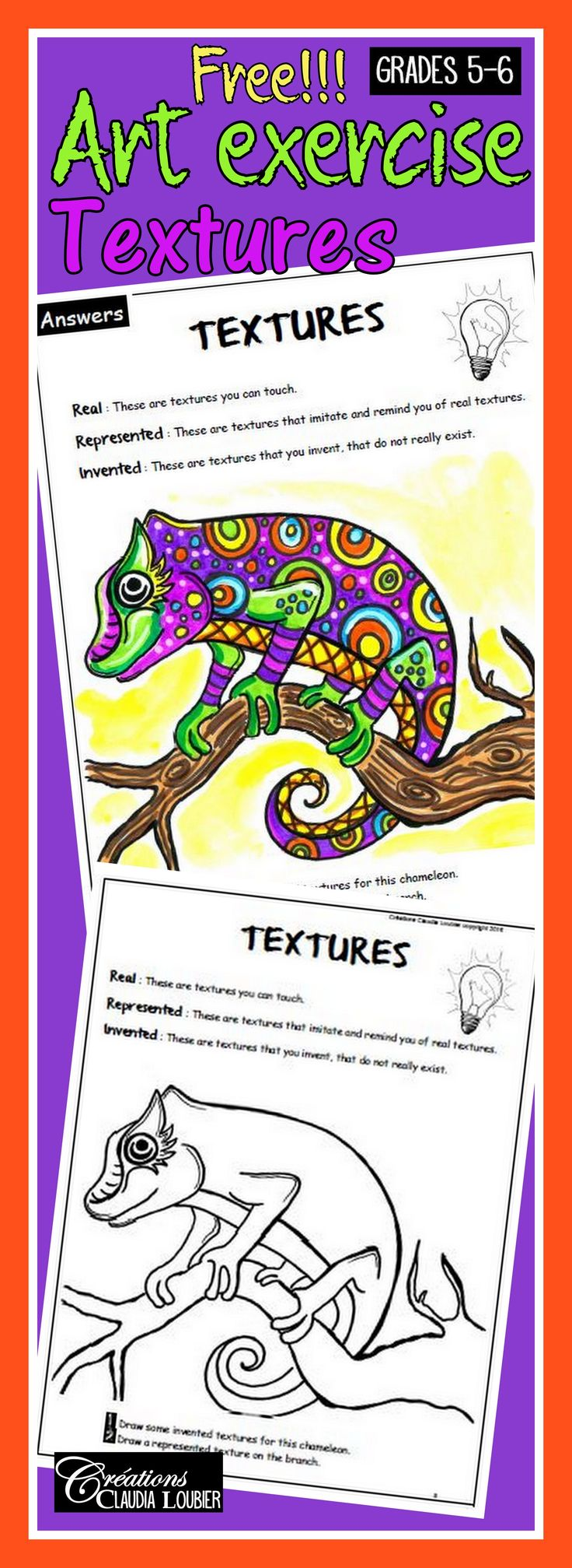 I am happy to share this free reproducible sheet to teach textures. This exercise IS PART OF a collection of 14 exercises, covering all of the ART language in primary school. Grades 5-6