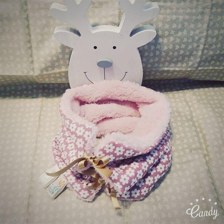 Snood fille , tour de cou tissu doudou et coton reversible et reglable ★ Idée cadeau ★ Vintage rose : Mode Bébé par mesbouillesabisous