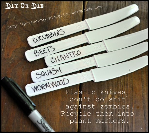 Upcycled plant markers! We only ever use the forks and sometimes spoons.
