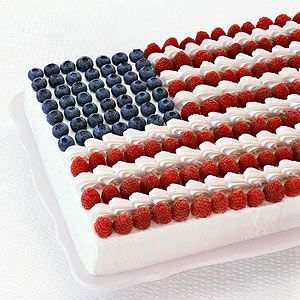 Show your patriotic spirit by serving this gorgeous lemon-flavored dessert decorated with blueberries and raspberries.