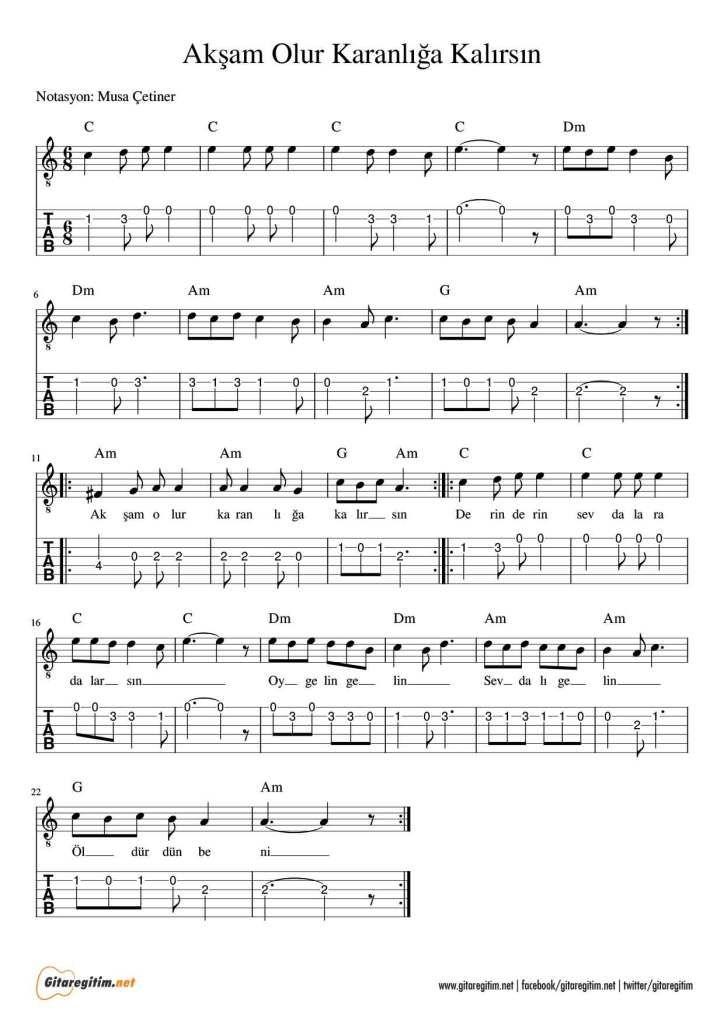Aksam Olur Karanliga Kalirsin Gitar Nota Tab Gitaregitim Net Gi Tar Sarkilar Muzik Notalari