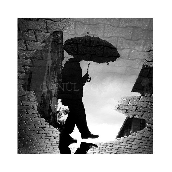 Black and white photography  Reflection Rain photography by gonulk, $50.00 #rain #reflection #blackandwhite #homedecor #walldecor #photography #walldecorations  #walldecorideas #WallArtPrints #prints #photo #decor