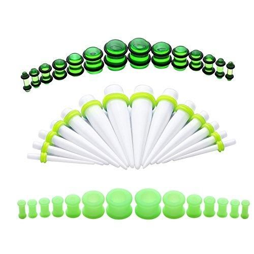 BodyJ4You Gauges Kit 42 Pieces Tapers and Plugs 8G-12mm Neon Green Stretching Set