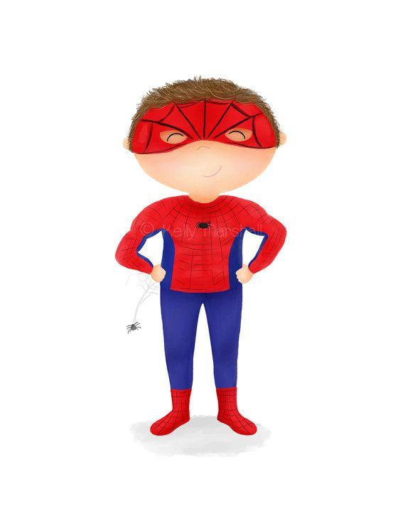 Superhero Art Print - Spider Boy - Superhero Bedroom Decor - Super Hero Birthday - Spiderman Art - Custom Spiderman Print - Sweet Cheeks images. $12 AUD