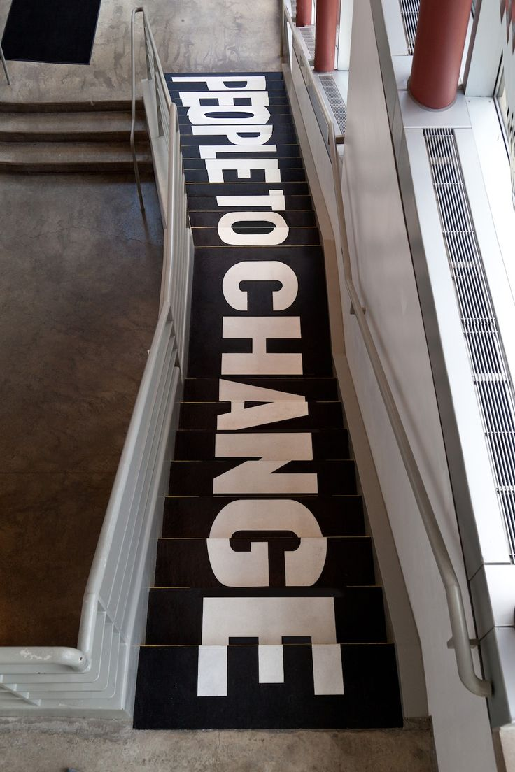 """From The Happy Show by Sagmeister. The previous stairs say """"Don't expect…"""""""