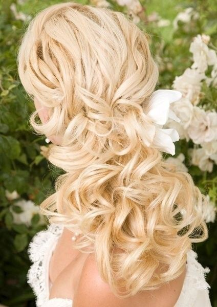 Curly Wedding Day Locks Wedding Hair & Beauty Photos on WeddingWire  Without the flower or with a smaller flower/other