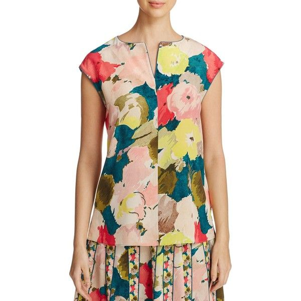 Lafayette 148 New York Joanie Floral Silk Blouse ($370) ❤ liked on Polyvore featuring tops, blouses, tropic teal multi, silk blouse, teal top, teal blouse, floral print tops and floral blouse
